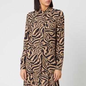Ganni Women's Printed Crepe Zebra Shirt - Tannin