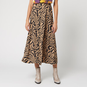 Ganni Women's Printed Crepe Zebra Midi Skirt - Tannin