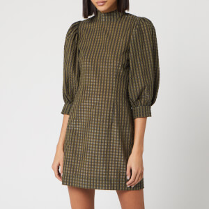 Ganni Women's Seersucker Check Mini Dress - Kalamata