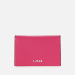 Ganni Women's Textured Leather Wallet - Shocking Pink