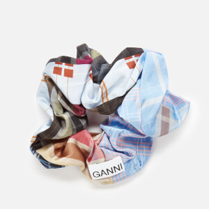Ganni Women's Silk Stretch Satin Scrunchie - Forever Blue