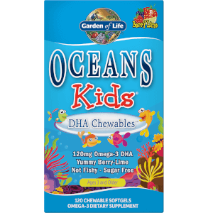 Oceans Kids' DHA Kauwbare Omega-3 Softgels - Bessen Limoen - 120 softgels