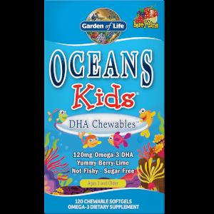 Детские жевательные капсулы Омега-3 со вкусом ягод и лайма Oceans Kids' DHA Chewables Omega-3 Softgels - Berry Lime - 120 капсул