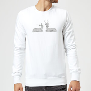 Glitter Stags Sweatshirt - White