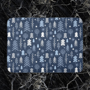 Night Time Winter Forest Bath Mat