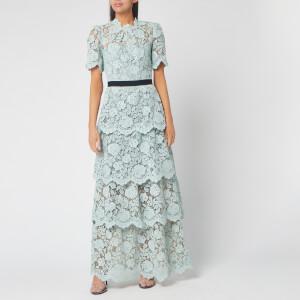 Self-Portrait Women's Flower Lace Tiered Maxi Dress - Mint