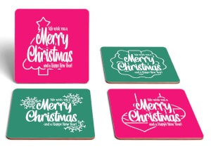 Merry Christmas Square Coaster Set