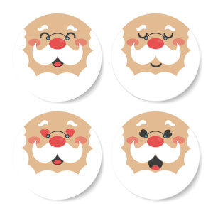 Fat Santa Emoji Round Coaster Set