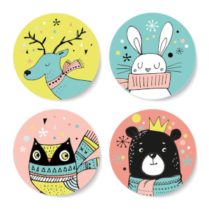 Cutesy Colourful Woodland Christmas Creatures Round Coaster Set