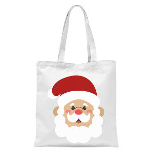 Cartoon Santa Face Tote Bag - White