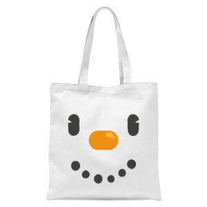 Snowman Face Tote Bag - White
