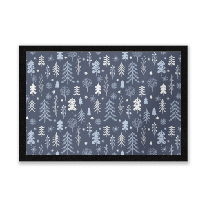Dark Christmas Winter Forest Entrance Mat
