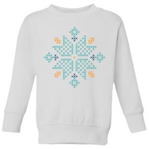 Cross Stitch Snow Flake Kids' Sweatshirt - White