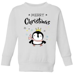 Merry Christmas Penguin Kids' Sweatshirt - White
