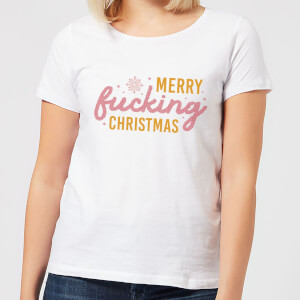 Cross Stitch Merry Fucking Christmas Women's T-Shirt - White