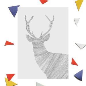 Aztec Reindeer Greetings Card