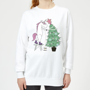 Unicorn Decorating The Christmas Tree Women's Sweatshirt - White