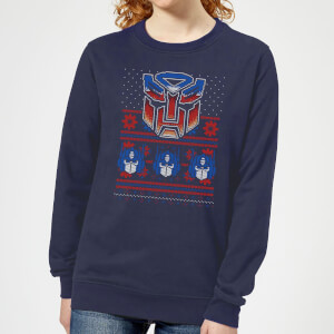 Autobots Classic Ugly Knit Women's Christmas Sweater - Navy
