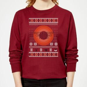 Looney Tunes Knit Women's Christmas Sweater - Burgundy