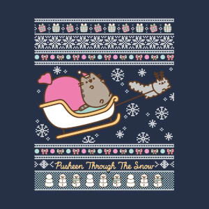 T-Shirt Pusheen Through The Snow Christmas - Navy - Uomo