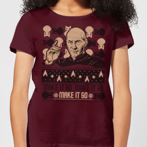 T-Shirt Star Trek: The Next Generation Make It So Christams Christmas - Burgundy - Donna