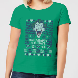 HA-HA-HAppy Ugly Knit Women's Christmas T-Shirt - Kelly Green