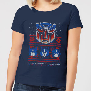 Autobots Classic Ugly Knit Women's Christmas T-Shirt - Navy