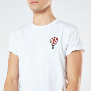 Hot Air Balloon Unisex Embroidered T-Shirt - White