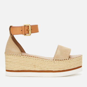 See By Chloé Women's Glyn Leather Flatform Espadrilles - Beige