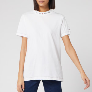 Tommy Hilfiger Women's Mock Neck Short Sleeve T-Shirt - White