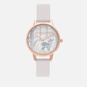 Olivia Burton Women's Snow Globe Sunray Deer Watch - Vegan Blush/Rose Gold