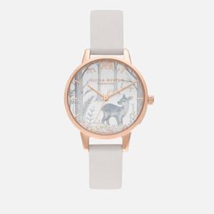 Olivia Burton Women's Snow Globe Sunray Deer Watch - Vegan Blush/Rose Gold