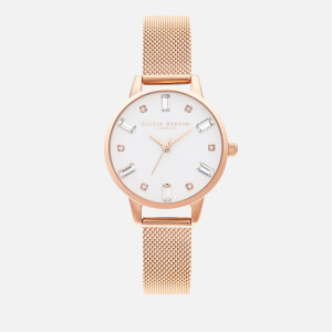 Olivia Burton Women's Bejeweled Mesh Watch - Rose Gold