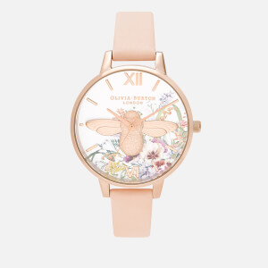 Olivia Burton Women's Enchanted Garden 3D Bee Watch - Nude Peach/Rose Gold