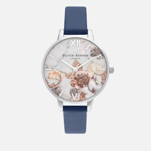 Olivia Burton Women's Marble Florals Watch - Navy/Silver