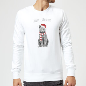 Hello Christmas Cat Sweatshirt - White