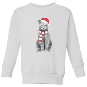 Balazs Solti Xmas Cat Kids' Sweatshirt - White