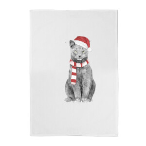 Balazs Solti Xmas Cat Cotton Tea Towel