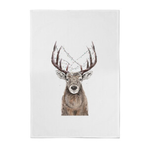 Balazs Solti Xmas Deer Cotton Tea Towel