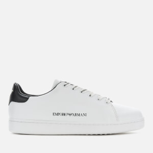 Emporio Armani Women's Leather Cupsole Trainers - White/Black