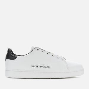 Emporio Armani Women's Leather Cupsole Trainers - White/Black