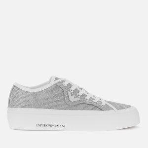 Emporio Armani Women's Glitter Canvas Low Top Trainers - White/Silver