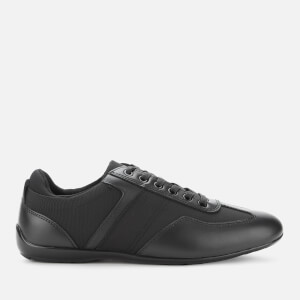 Emporio Armani Men's Leather/Nylon Low Profile Trainers - Black/Black