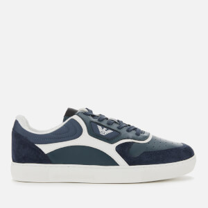 Emporio Armani Men's Suede/Leather Low Top Trainers - Blue/Midnight
