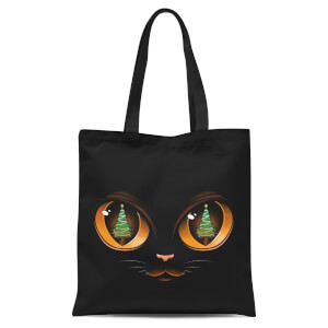 Tobias Fonseca Xmas Tree Cat Attack Tote Bag - Black