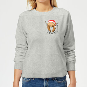 Tobias Fonseca Sloth In A Pocket Xmas Women's Sweatshirt - Grey