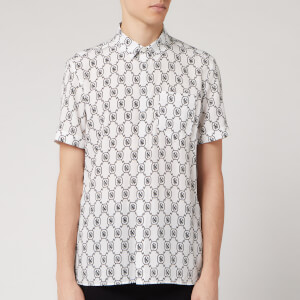 Neil Barrett Men's All Over Monogram Short Sleeve Shirt - White