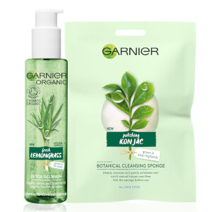 Garnier Organic Cleansing Set for All Skin Types: Lemongrass Gel Wash & Botanical Cleansing Sponge