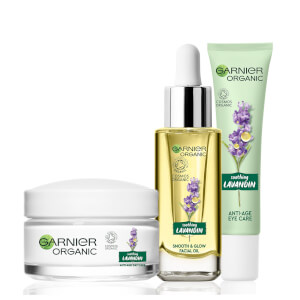 Garnier Organic Lavandin Set: Eye Cream, Glow Facial Oil & Anti-Age Day Care Cream