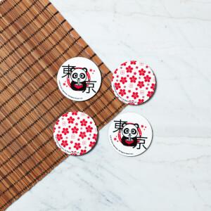 Ramen Panda runder Untersetzer-Set